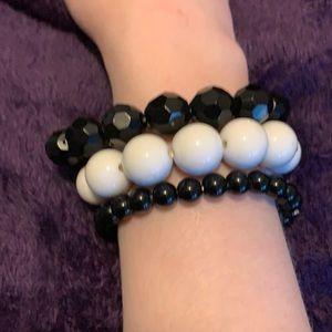 3/$20 Black and white beaded bracelets